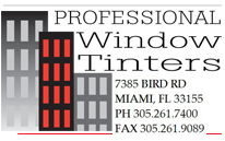 Professional Window Tinters - 7385 Bird Rd, Miami FL 33155 - PH 305-261-7400